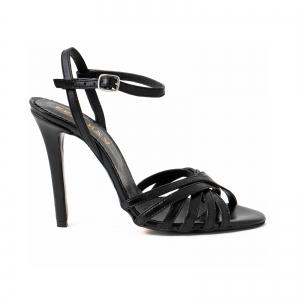 Sandale cu barete, din piele naturala neagra0