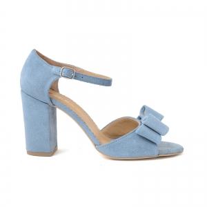Sandale cu funde duble, din piele intoarsa albastru deschis0