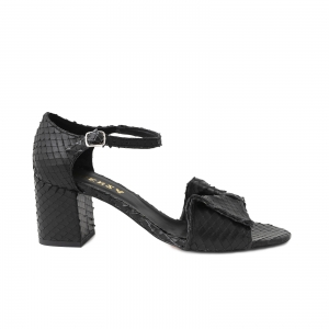 Sandale cu fundita din piele naturala neagra texturata0