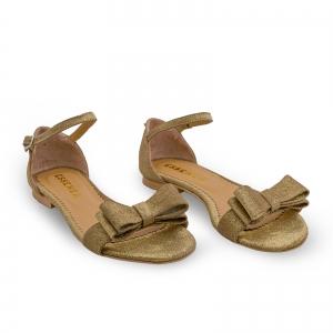 Sandale cu talpa joasa, din piele aurie glitter, cu fundite1