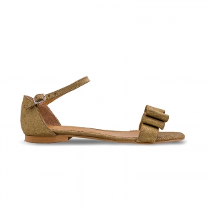 Sandale cu talpa joasa, din piele aurie glitter, cu fundite0