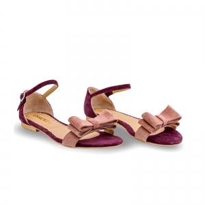 Sandale cu talpa joasa, din piele intoarsa mov, cu fundite roz somon1
