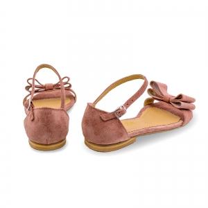 Sandale cu talpa joasa, din piele intoarsa roz somon, cu fundite1