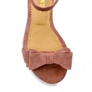 Sandale cu talpa joasa, din piele intoarsa roz somon, cu fundite2
