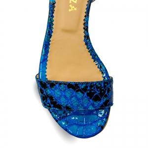 Sandale cu talpa joasa, din piele lacuita in nuante de albastru cu textura de piele de sarpe3
