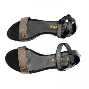 Sandale cu talpa joasa, din piele lacuita neagra si piele laminata bronz texturat2
