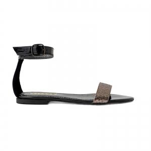 Sandale cu talpa joasa, din piele lacuita neagra si piele laminata bronz texturat0