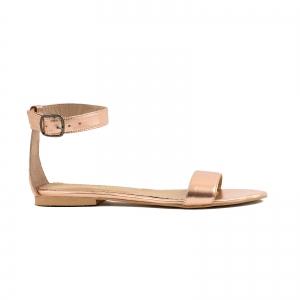 Sandale cu talpa joasa , din piele laminata auriu-roze0
