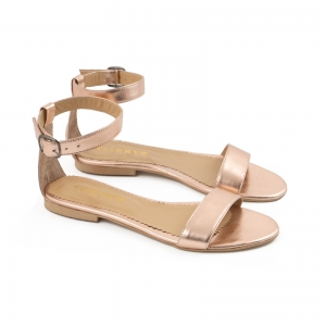 Sandale cu talpa joasa , din piele laminata auriu-roze1