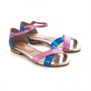 Sandale cu talpa joasa , din piele laminata roz ciclam si albastru electric1