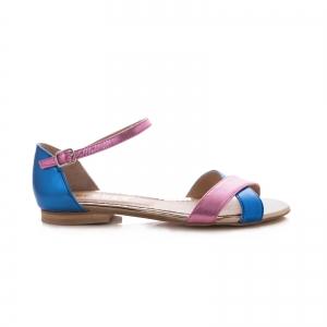 Sandale cu talpa joasa , din piele laminata roz ciclam si albastru electric0