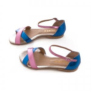 Sandale cu talpa joasa , din piele laminata roz ciclam si albastru electric3