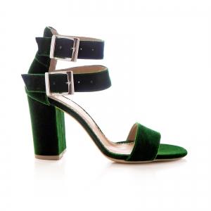 Sandale cu toc gros, din catifea verde0