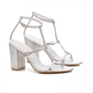 Sandale cu toc gros, din piele argintie1
