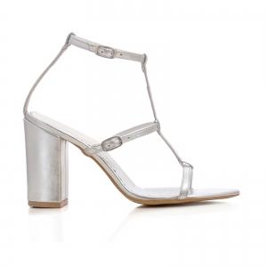 Sandale cu toc gros, din piele argintie0