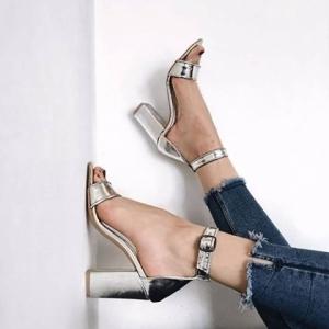 Sandale cu toc gros, din piele argintie2