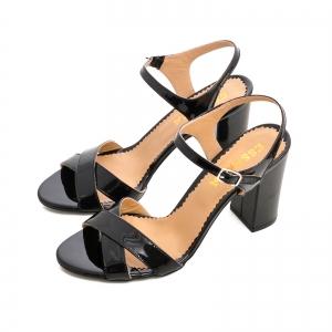 Sandale cu toc gros, din piele lacuita neagra2