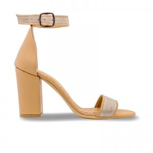 Sandale cu toc gros, din piele naturala nude si piele glitter0