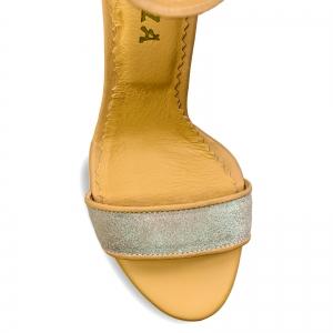 Sandale cu toc gros, din piele naturala nude si piele glitter3
