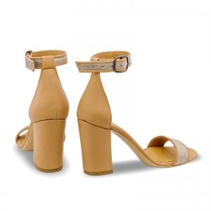 Sandale cu toc gros, din piele naturala nude si piele glitter2