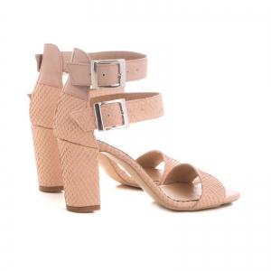 Sandale cu toc gros, din piele roz cu textura de piele de sarpe, si piele nude roze2