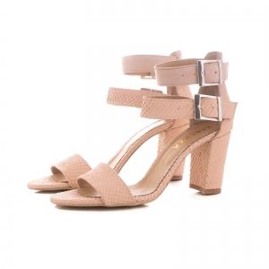 Sandale cu toc gros, din piele roz cu textura de piele de sarpe, si piele nude roze1