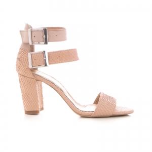Sandale cu toc gros, din piele roz cu textura de piele de sarpe, si piele nude roze0