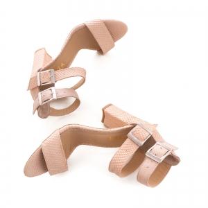 Sandale cu toc gros, din piele roz cu textura de piele de sarpe, si piele nude roze3