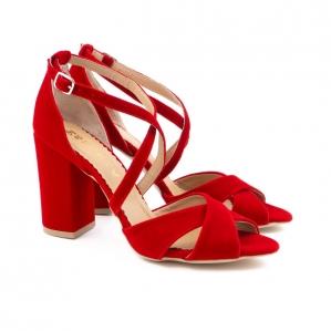 Sandale din catifea, rosu aprins1