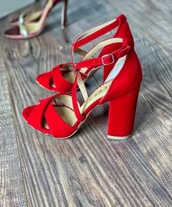 Sandale din catifea, rosu aprins3
