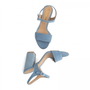 Sandale din piele intoarsa albastra, cu toc patrat imbracat in piele.3
