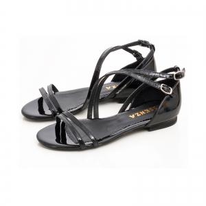 Sandale cu talpa joasa, din piele lacuita neagra2