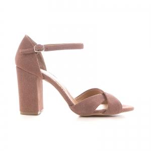 Sandale din piele intoarsa roz somon0