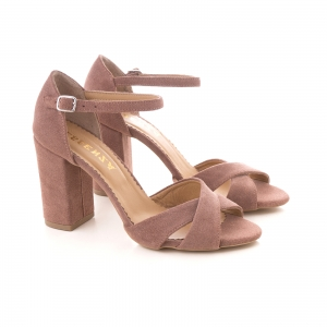 Sandale din piele intoarsa roz somon1