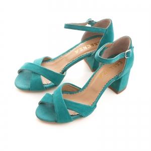 Sandale din piele intoarsa turquoise, cu toc gros2