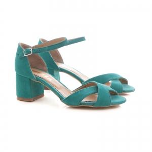 Sandale din piele intoarsa turquoise, cu toc gros1