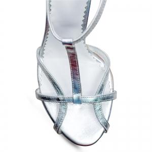 Sandale din piele laminata argintie3