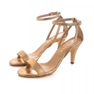 Sandale din piele laminata, auriu patinat2