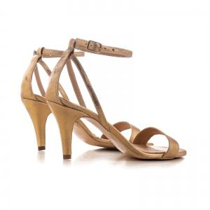 Sandale din piele laminata, auriu patinat1