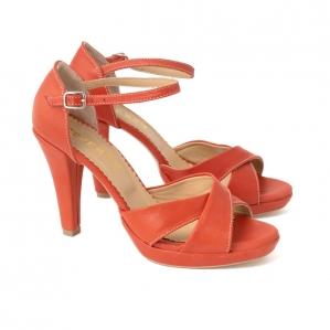 Sandale din piele naturala coral1