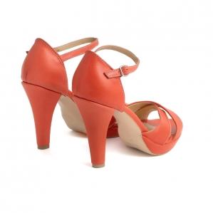 Sandale din piele naturala coral2