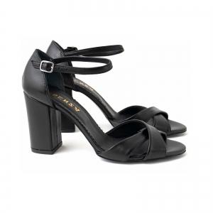 Sandale din piele naturala neagra, cu toc gros1
