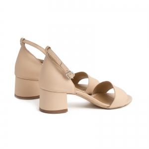 Sandale din piele naturala nude roze, cu toc patrat imbracat in piele2