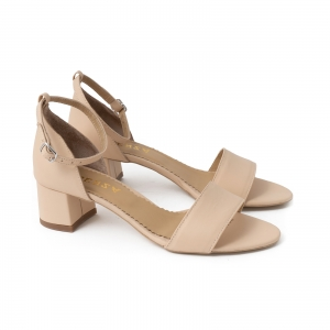 Sandale din piele naturala nude roze, cu toc patrat imbracat in piele1