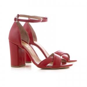 Sandale din piele naturala rosie, cu toc patrat1