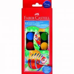 Acuarele 12 culori Pensula pastila de 30 mm Faber-Castell