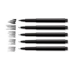 Pitt Artist Pen Negru 4 buc (S, F, M, B), etui plastic Faber-Castell