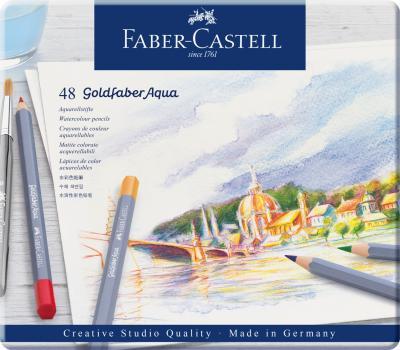 CREIOANE COLORATE AQUARELLE 48 CULORI GOLDFABER CUT. METAL Faber-Castell