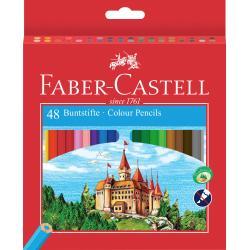 Creioane Colorate Eco 48 culori / cutie carton + ascutitoare Faber-Castell