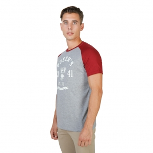 Tricou Oxford University QUEENS-RAGLAN-MM-GREY-RED1